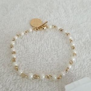 New Ralph Lauren White Pearl Flex Bracelet
